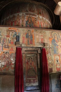 inside of the church, decorated with exquisite quality frescoes