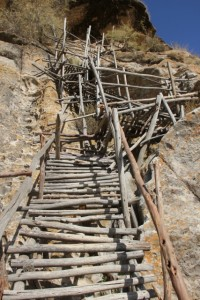 rickety stairs to the Paulos and Petros church