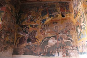 frescoed inner walls of the church