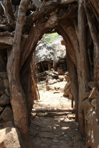 access to the compound in through a low tunnel (Mecheke village)