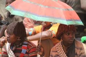 two market women craving for shade