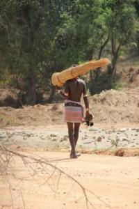 a lone walker along the road