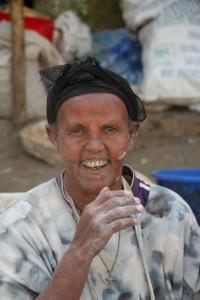 market woman enjoying herself