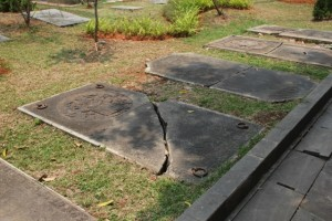 and 18th Century headstones, broken in places, but about to be repaired