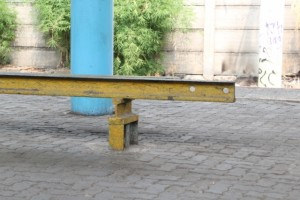 benches on the stations are a really simple affair, just some track welded toghether