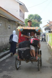 getting out of the hotel in Banjaran with our luggage