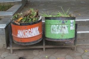 garbage bins, encouraging people to separate organic waste from the rest