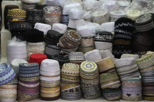 prayer caps being sold in the Arab Quarter