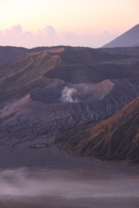 the Bromo crater in the early sunlight