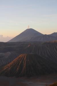 Gunung Semeru, releasing smoke, and Gunung Batok in front