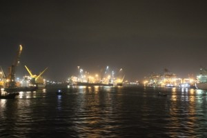Surabaya port by night
