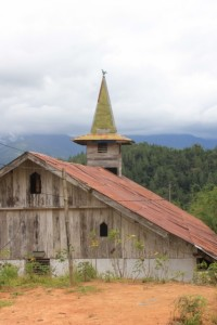 wooden church near Mamasa: 80% of the population here is Christian
