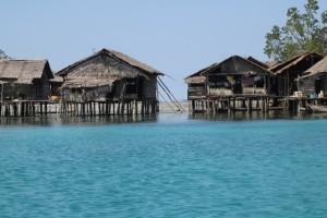 a Sea Gypsy village, on stilts