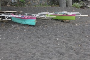 colourful fishing boats on the beach