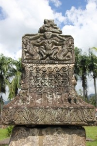 a delicately carved tomb cover