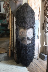 Dayak shield, allegedly decorated with human hair, in the antique shop; we need to establish a bruno&sofia foundation accepting generous gifts to facilitate the acquisition of this piece