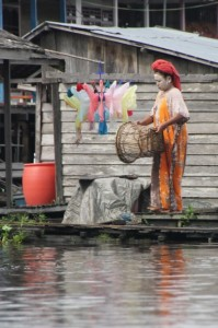 woman with whithened face in Muara Ohong