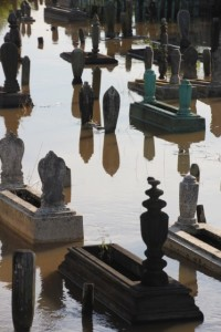 high water, even the cemetry has been inundated