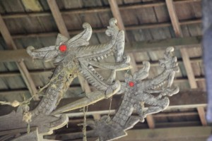 the coffins are nicely decorated with dragon heads