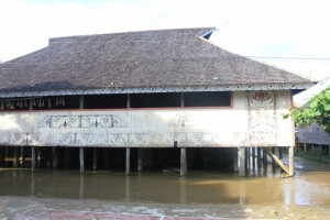the meeting hall in Tering Lama, still above the water