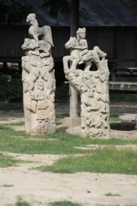 stone sculptures adorning the traditional village of Umabara
