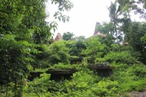 the tombs anouncing Kampung Praijiang, visible on the hill