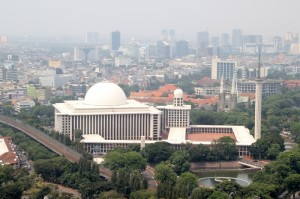 no misunderstanding about the dominant religion in Indonesia: view from the top of MONAS of the Istiqlal Mosque, with behind it the Saint Mary's Cathedral