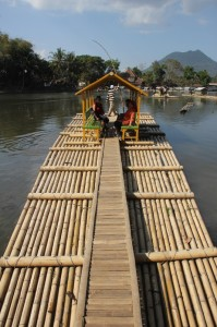 the bamboo raft taking visitors to the island