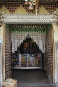 coffee palace in Wonosobo, shop and shop front plastered with coffee sachets