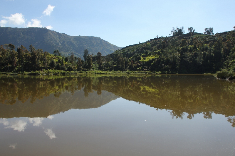 pristine lake on the Dieng Plateau