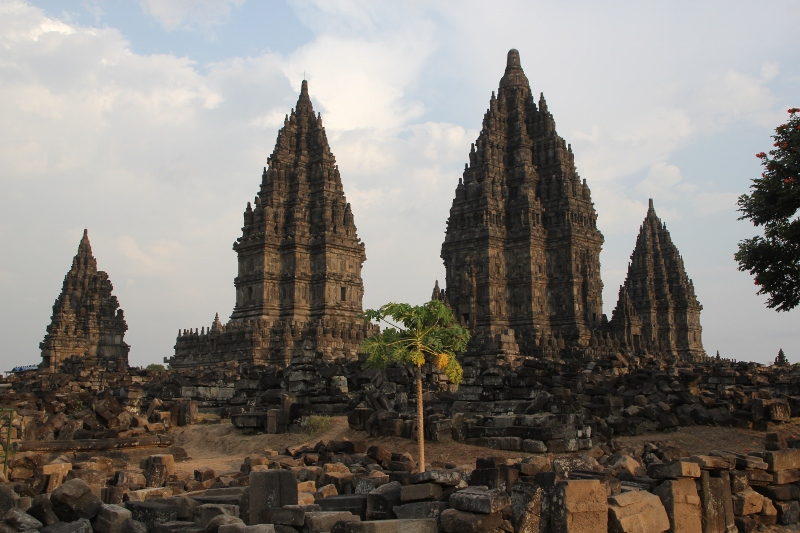 view of some of the temples of the Prambanan complex