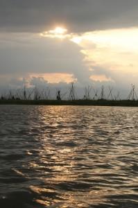 bamboo stakes around the lake - Danau Taube