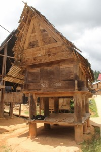 rice barn, traditionally placed opposite the house