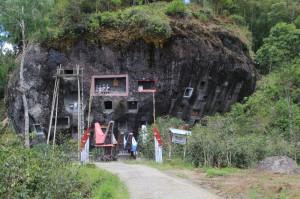 mausoleums hewn out of a rock face near Lokomata