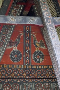 an often returning subject of the tongkonan decorations is a pair of cocks