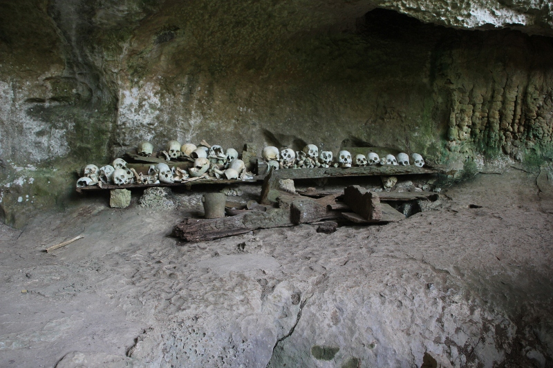 row of skulls at the back of the cave