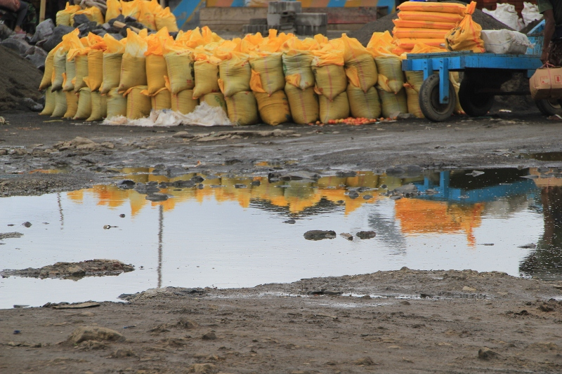yellow sacks mirrored in a pool of water near the harbour