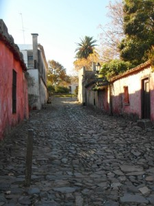 cobbled streets and old, colonial houses