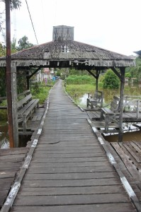 board walk entrance to the village