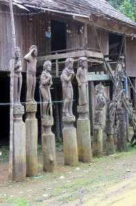 hampatongs in front of the longhouse