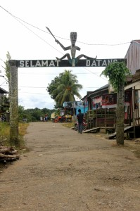 the welcome arch at the entrance of Datah Bilang