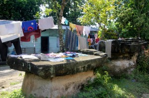 tombs are being used to dry laundry