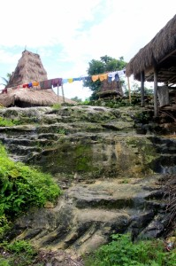 the hill top Kampung Praijiang, stairs hewn out of the rocks