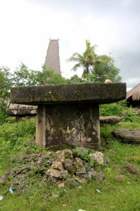 an old tomb, with one of the very tall roofs of Paranobaroro in the back
