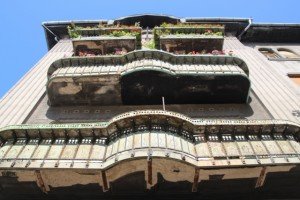 metal balconies along the Piata Victoriei