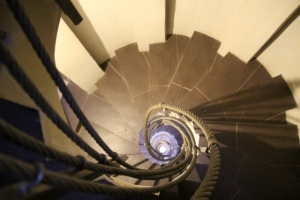 and a more artistic representation of the tower, the stairs inside