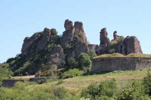 irregularly weathered rocks at Belogradchik, used as the base for another fortress