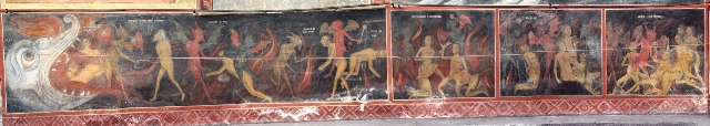 an outside fresco of Rila Monastery, depicting hell