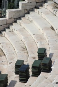 the Plovdiv Roman amphi-theatre preparing for a concert