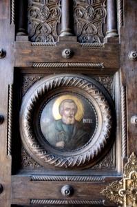 door decoration of the Princess Balasa church in South Bucharest